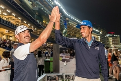 Rafa Cabrera Bello and Wade Ormsby putting during race course activity Honma Hong Kong Open 2018 at Jockey Club, Happy Valley, Causeway Bay,, Hong Kong, on 21  November 2018, Hong Kong SAR, China.  Photo by : Ike Li / Ike Images